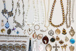 A collection of costume and silver jewellery,