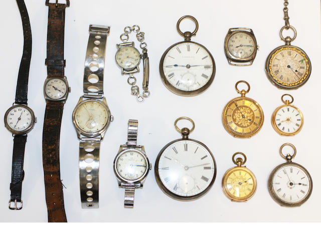 Three gold cased fob watches,4 silver pocket/fob watches,and 6 various wristwatches (13)