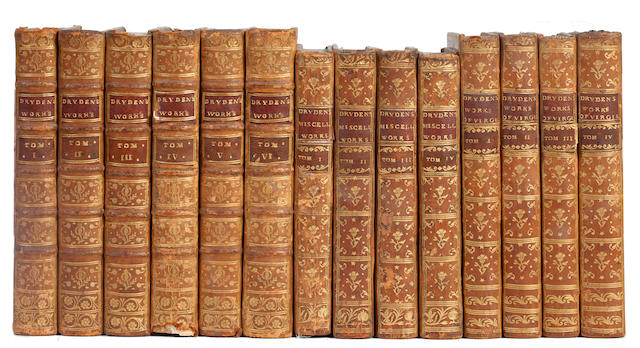 BINDINGS DRYDEN (JOHN) The Dramatick Works, 6 vol., 1762; Miscellaneous Works, 4 vol., 1767; The Works of Virgil, 4 vol., 1772, sold as bindings (14)