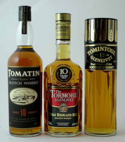 Tomatin-10 year old<BR /> The Tormore Glenlivet-10 year old<BR /> Tomintoul Glenlivet-12 year old