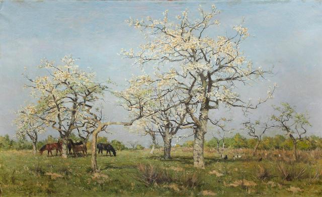 Isidoor Verheyden (Belgian, 1846-1905) Grazing in spring