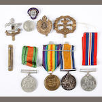 A 1st World War & Victory medals to 73962 Pte A C L Brown, L'Pool R, three Cap badges, 2nd World War & Defence medals and other items.