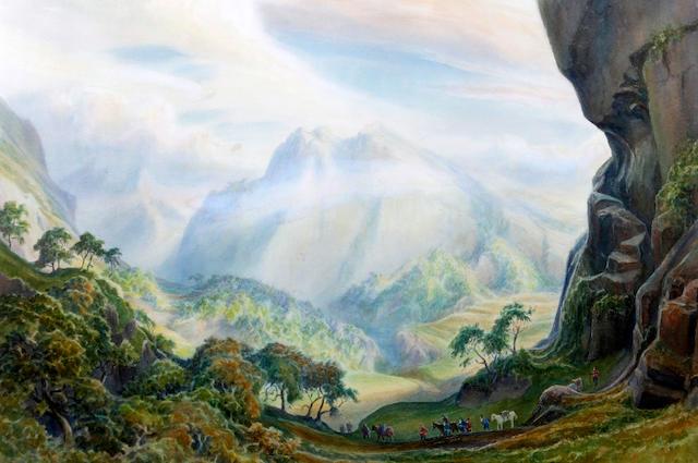 John Fielder (British), (20th century) Imaginary landscape for The Hobbit