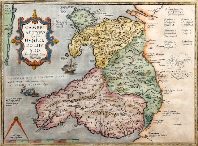 Humphrey Lhuyd (British, 1527-1568) Cambriae Typus A map of Wales, decorated with elaborate cartouche, sailing vessel and sea monster in the Irish Sea, scale and pair of dividers