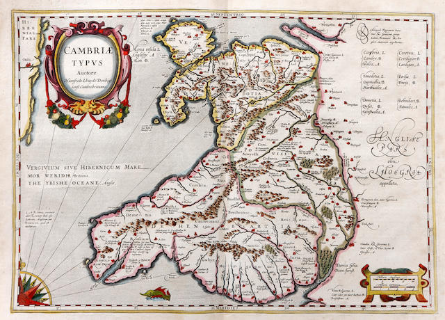 Humphrey Lhuyd (British, 1527-1568) Cambriae Typus A map of Wales, with oval cartouche, single sea monster off 'Wormes heade' compass and scale,