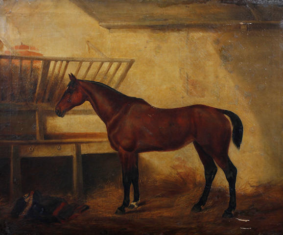 Follower of John Frederick Herring, Snr. (British, 1795-1865) Horse in a loose box