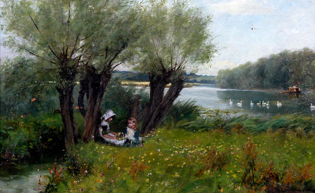 James Yates Carrington (British, 1857-1892) River landscape with children seated on the riverbank