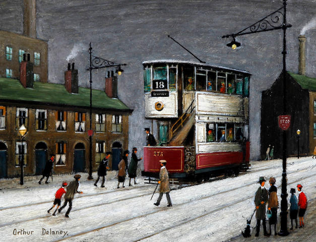 Arthur Delaney (British, 1927-1987) Manchester tram with figures at the tram stop