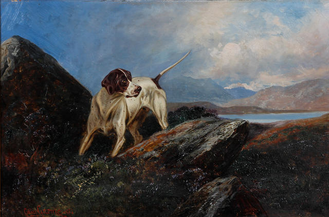 Colin Graeme Roe (British, 1850-1910) English pointer in a lake landscape, together with another similar of a setter, a pair