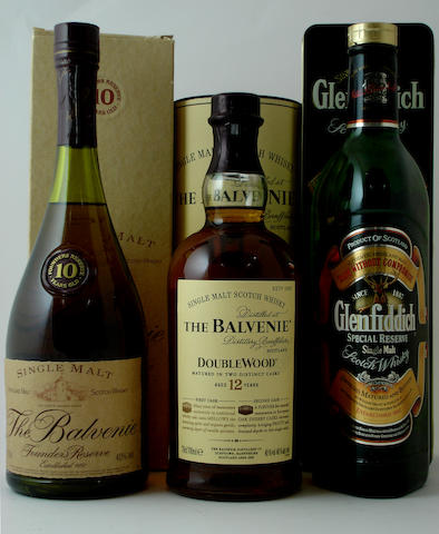 The Balvenie Founder's Reserve-10 year old<BR /> The Balvenie Doublewood-12 year old<BR /> Glenfiddich
