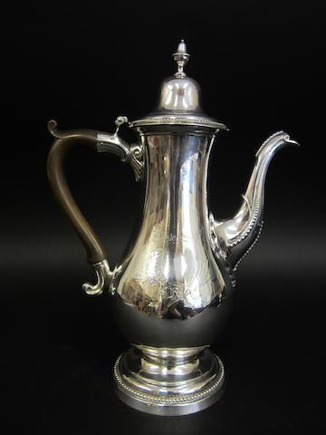 A George III silver coffee pot by John Langlands I and John Robertson I, Newcastle 1784