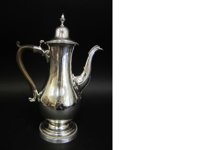 A silver coffee pot by John Langlands I and John Robertson I, Newcastle 1784