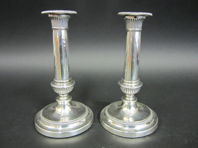 A George III silver pair of candlesticks by Matthew Boulton, Birmingham 1806  (2)