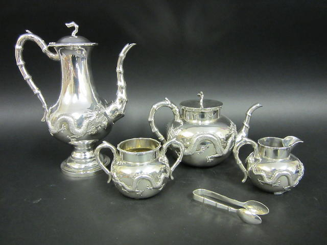 A Chinese silver five piece tea and coffee service by Luen Wo, Shanghai, circa 1910  (5)