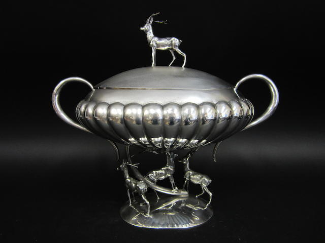 A Spanish silver two-handled bowl and cover pentagram and spider marks, circa 1960