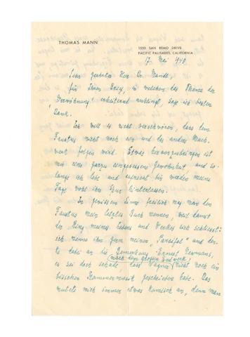 MANN (THOMAS) Autograph letter signed, 1948