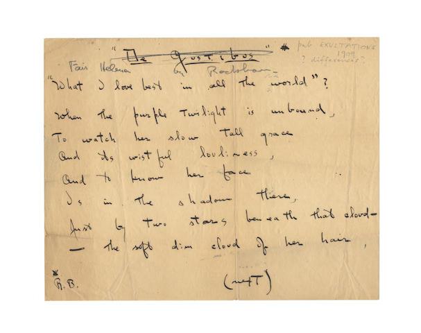 POUND, EZRA (1885-1972. American poet) AUTOGRAPH MANUSCRIPT OF HIS POEM 'FAIR HELENA BY RACKHAM',