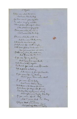 SWINBURNE, ALGERNON CHARLES (1837-1909) AUTOGRAPH REVISED MANUSCRIPT OF HIS POEM 'A MATCH', [c. 1866]