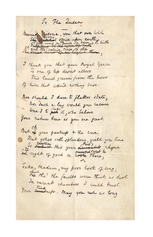 TENNYSON, ALFRED (1809-1892) AUTOGRAPH REVISED MANUSCRIPT OF HIS POEM 'TO THE QUEEN', 1851