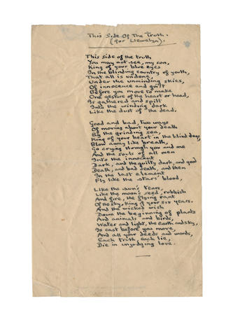 THOMAS, DYLAN, (1914-1953, Welsh poet) AUTOGRAPH MANUSCRIPT OF HIS POEM 'THIS SIDE OF THE TRUTH (FOR LLEWELLYN)', [1945]
