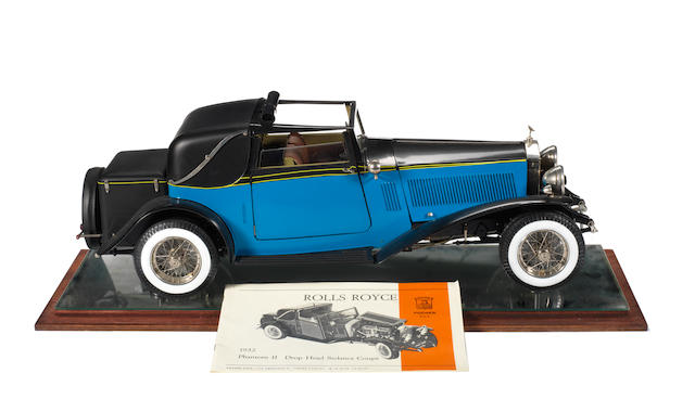 A 1:8 scale model of a 1934 Rolls-Royce Phantom II drop head Sedanca Coupe by Pocher, Italian,