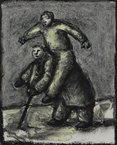 Peter Booth (born 1940) Old Man with Stick Carrying Young Man 1995