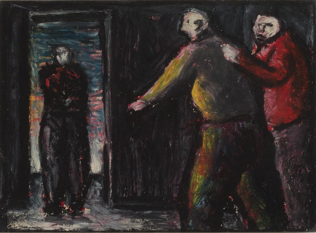 Peter Booth (born 1940) Three Figures - Interior with Doorway, 1984