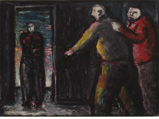 Peter Booth (born 1940) Three Figures - Interior with Doorway 1984