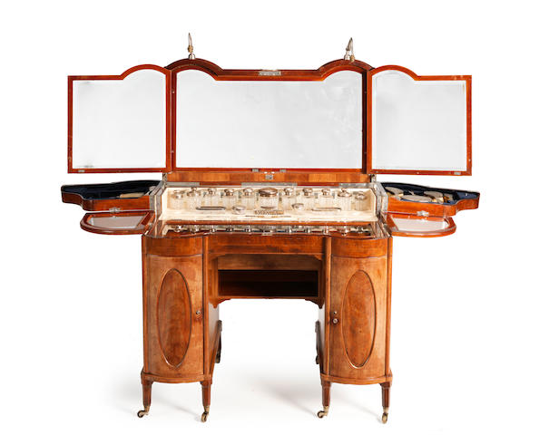 An Edwardian mahogany and line inlaid Lady's fitted folding dressing table By Maple & Co. Serial No. 541493