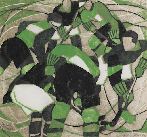 Lill Tschudi (Swiss, 1911-2001) Ice Hockey Linocut printed in black, green and greyish beige, 1933, a strong and vibrant impression, on off-white oriental laid, signed, numbered 41/50  and inscribed 'Handprint' in pencil, with margins, 260 x 280mm (10 1/4 x 11in)(B)