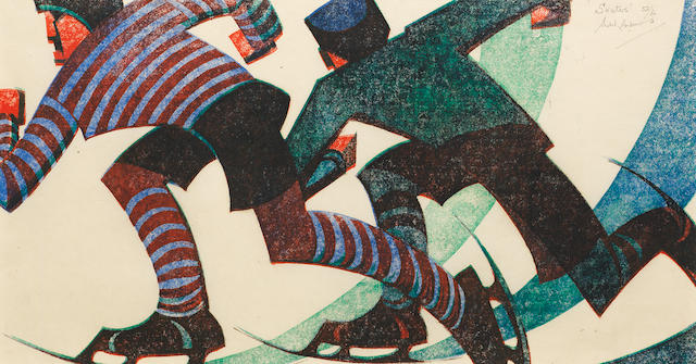 Sybil Andrews, CPE (British/Canadian, 1898-1993) Skaters Linocut printed in spectrum red, viridian, permanent blue and ivory black, 1953, on buff oriental laid, signed, titled and numbered 52/60 in pencil, with margins, 204 x 380mm (8 x 15in)(B)