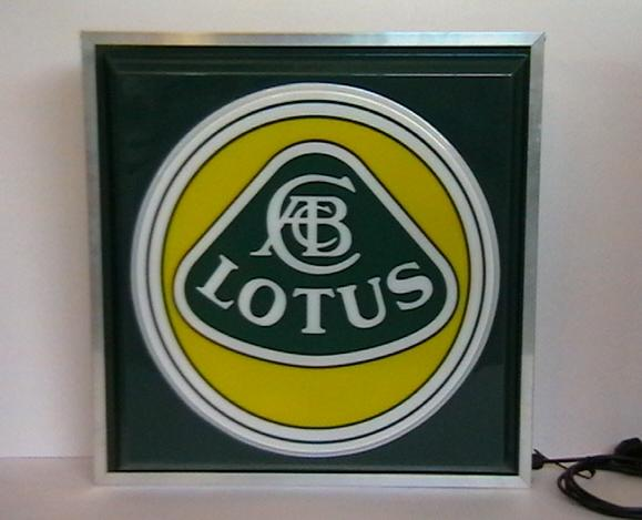 A Lotus illuminating garage sign,