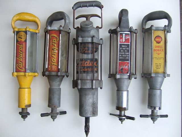 Five oil dispensers,