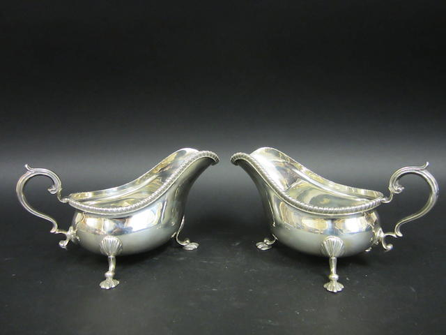 A silver pair of gravy boats, by I.F.& Son (untraced), London 1937