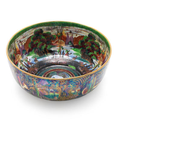 Daisy Makeig-Jones for Wedgwood  'Woodland Elves V - Woodland Bridge', a Fairyland Lustre Imperial Bowl, circa 1920