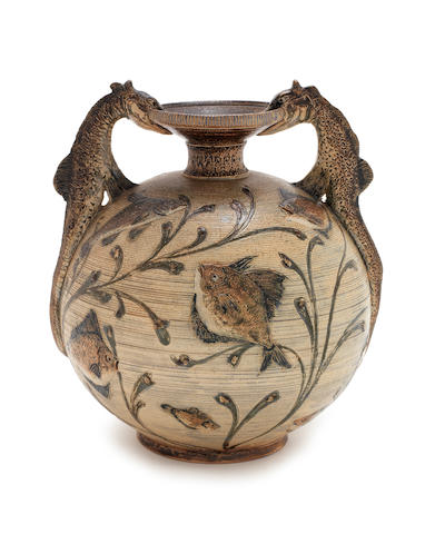 Martin Brothers a Vase with Comical Fish and Modelled Handles, 1886