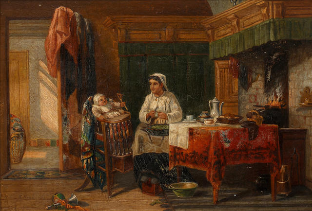 Continental School, 19th Century Interior scene with mother and child