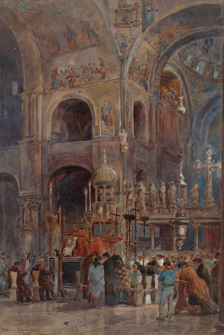William Henry Pike (British, 1846-1908) Funeral in St. Marks, Venice