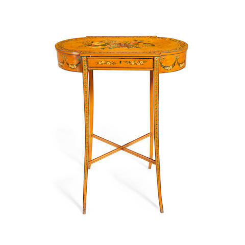 A small George III satinwood and polychrome painted centre work table