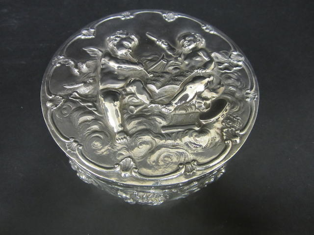 A Dutch silver circular box imported by David Bridge, London 1896