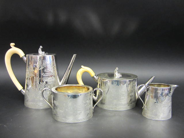 A Victorian electroplated four piece tea and coffee service by Hukin & Heath, circa 1880