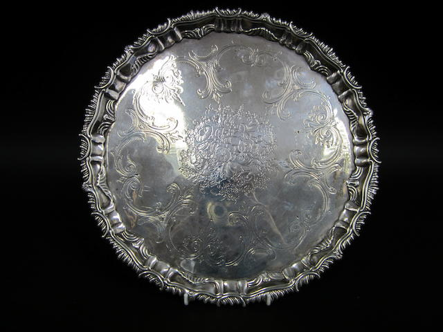 A George III silver presentation salver by Ebenezer Coker, London 1762