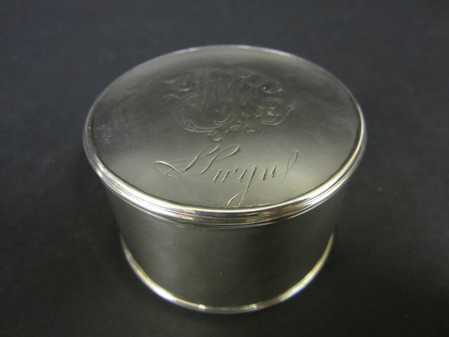 A George II silver circular box by ID, untraced, see Grimwade 3632, circa 1735