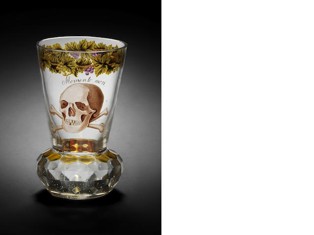 A Bohemian transparent enamelled 'Memento Mori' beaker by August Mohn, dated 1817