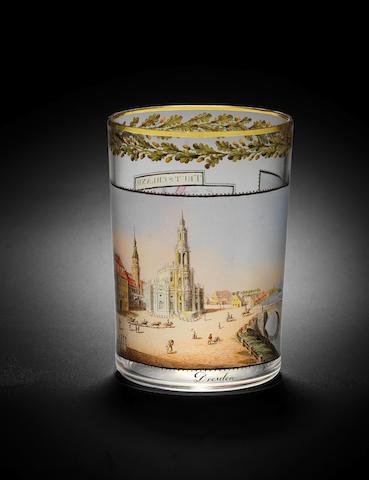 A rare Dresden transparent-enamelled topographical beaker, by Gottlob Mohn, circa 1811-12