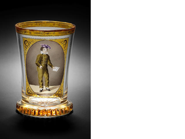 A Viennese transparent-enamelled and part-amber stained and gilt Ranftbecher with portrait of a boy, by Gottlob Mohn, Vienna, circa 1817