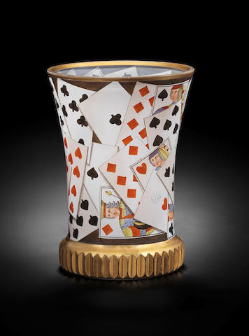 A Vienna transparent-enamelled and gilt Ranftbecher with playing cards, by Anton Kothgasser, circa 1825-30