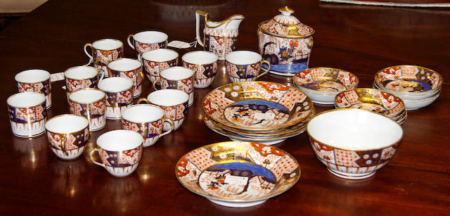 A mid 19th century Spode style part tea and coffee set