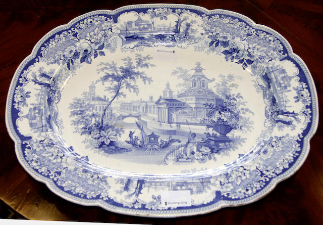 A large blue and white Victorian 'Florence' pattern platter
