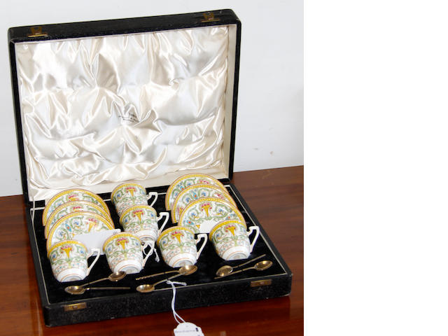 A Royal Worcester cased six place coffee set